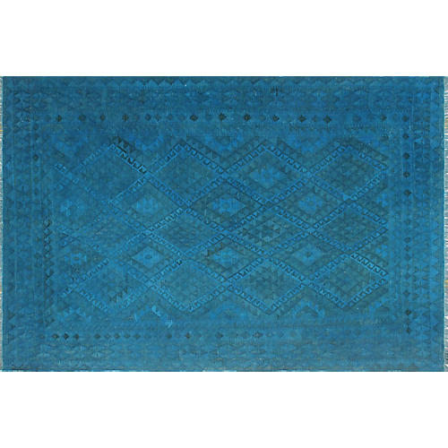 "6'8""x9'8"" Nicol Kilim, Blue/Gray"