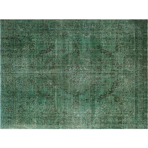 "9'8""x12'5"" Makeen Overdyed Rug, Green/Brown"