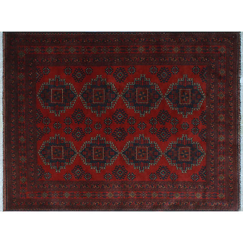 "5'10""x7'7"" Khal Mohammadi Rod Rug, Red/Blue"