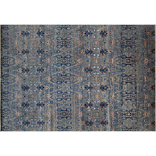 """9'9""""x14' Asmae Oushak Rug, Gray-Blue/Brown"""