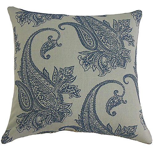 Damask Pillow, Blue/Gray