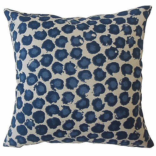 Galli 18x18 Pillow, Blue Leopard