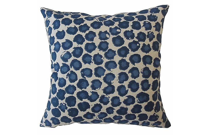 Galli 18x18 Pillow, Blue Leopard