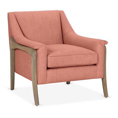 Risa Accent Chair, Rose Linen