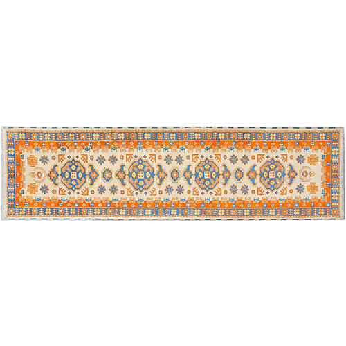 "2'9""x10'2"" Royal Kazak Runner, Light Khaki/Orange"