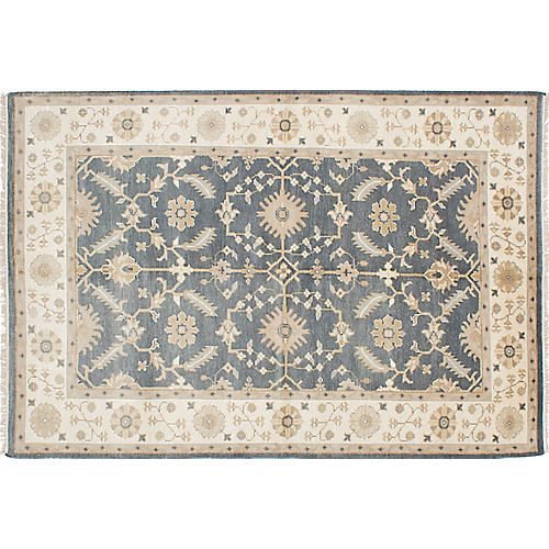 "6'1""x9'1"" Royal Oushak Rug, Cream/Dark Gray"