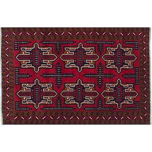 "2'10""x4'8"" Royal Baluch Rug, Red/Multi"