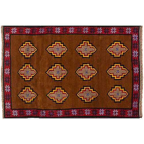 "2'10""x4'5"" Baluch Rug, Brown/Red"