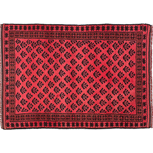 """3'5""""x5'1"""" Transition Hand-Knotted Rug, Light Red"""