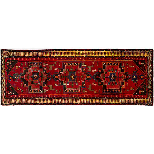 "3'5""x9'4"" Nahavand Runner, Red"