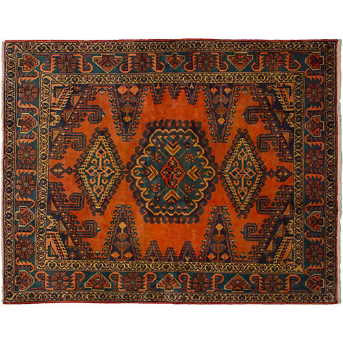 """5'3""""x6'9"""" Wiss Hand-Knotted Rug, Copper"""