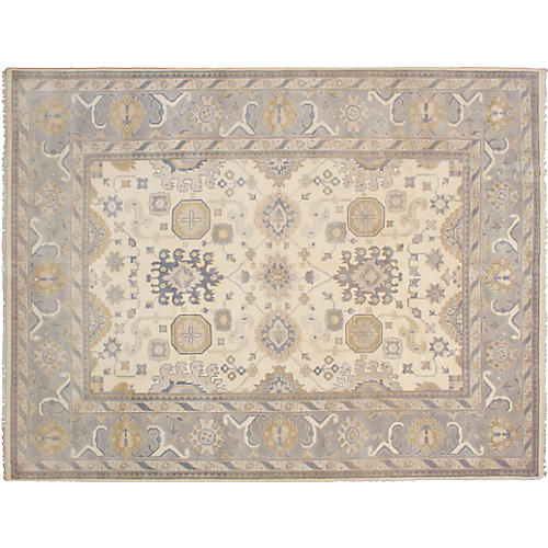 """9'2""""x11'10"""" Royal Oushak Hand-Knotted Rug, Cream"""