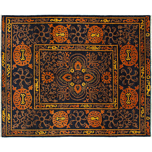 "8'1""x10' Shalimar Hand-Knotted Rug, Black/Orange"