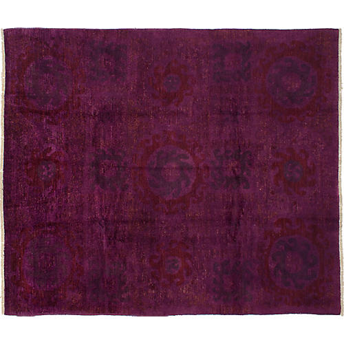 """8'2""""x9'8"""" Vibrance Hand-Knotted Rug, Burgundy"""