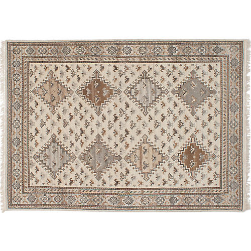 "5'5""x7'7"" Finest Kazak Hand-Knotted Rug, Oat"