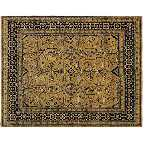 """10'4""""x10' Beaumont Hand-Knotted Rug, Wheat/Black"""