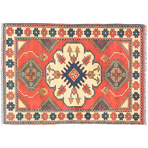 "3'6""x4'10"" Finest Kargahi Rug, Citrus/Light Gold"