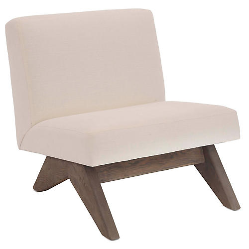 Gillis Accent Chair, Ivory Linen