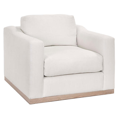 Wesley Swivel Club Chair, Ivory Linen