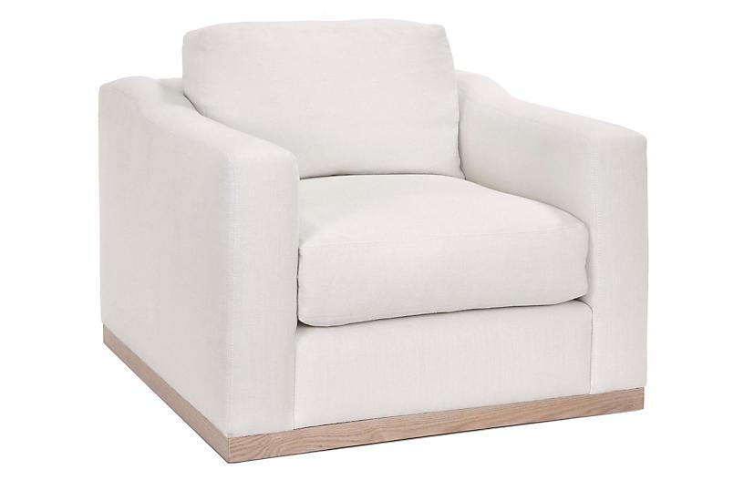 Wesley Swivel Chair, Ivory Linen