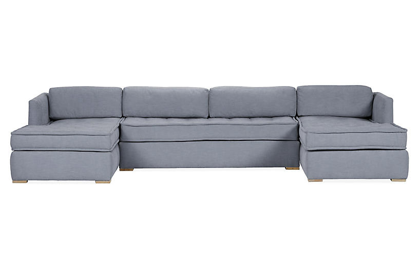 Lane U-Shaped Modular Sectional, Sky Blue