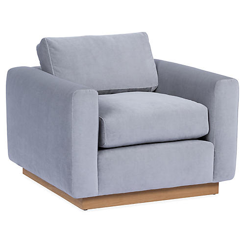 Furh Club Chair, Light Gray Velvet
