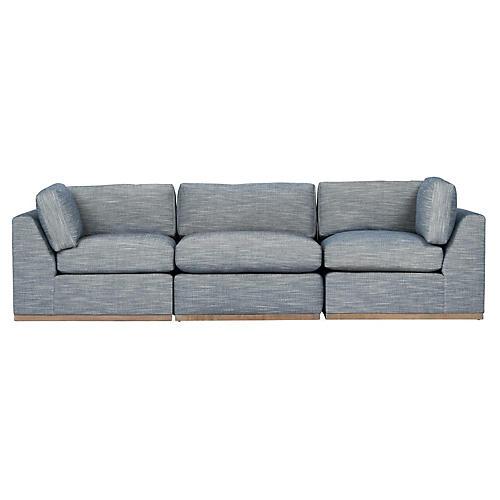 Pratt 3-Pc Modular Sofa, Indigo Crypton