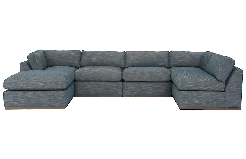Pratt U-Shaped Sectional, Indigo Crypton