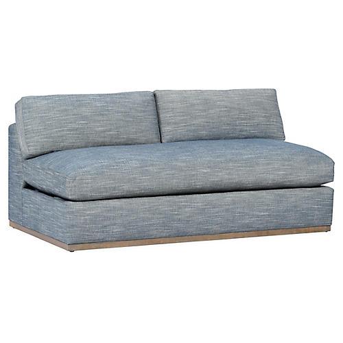 Pratt Armless Sofa, Indigo Crypton