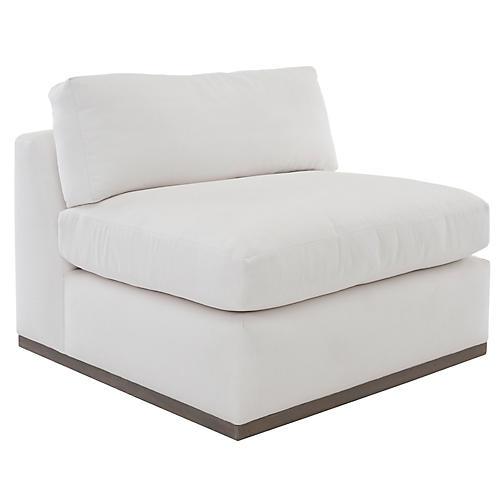 Pratt Armless Chair, White Crypton