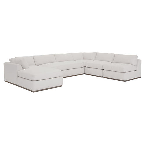 Pratt 5-Pc Sleeper Sectional, White Crypton