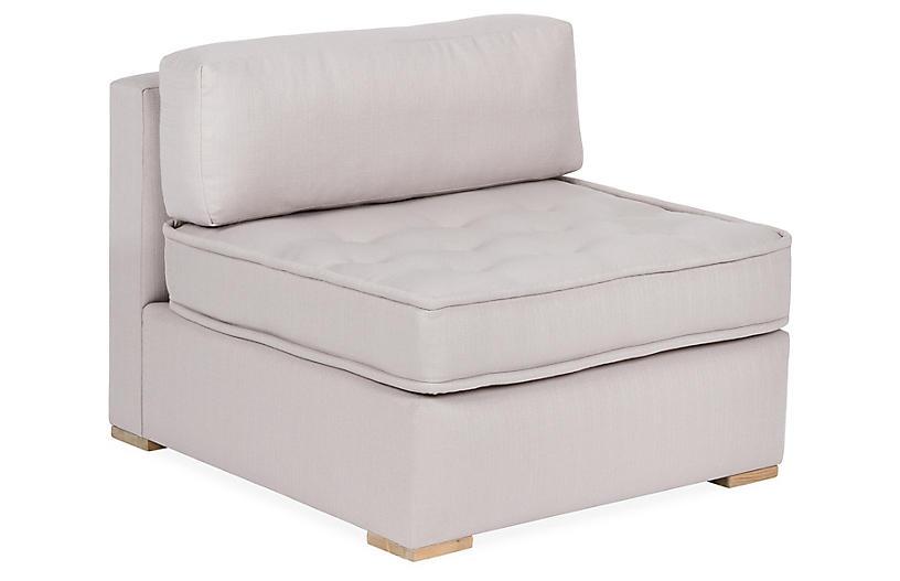 Lane Tufted Slipper Chair, Light Gray
