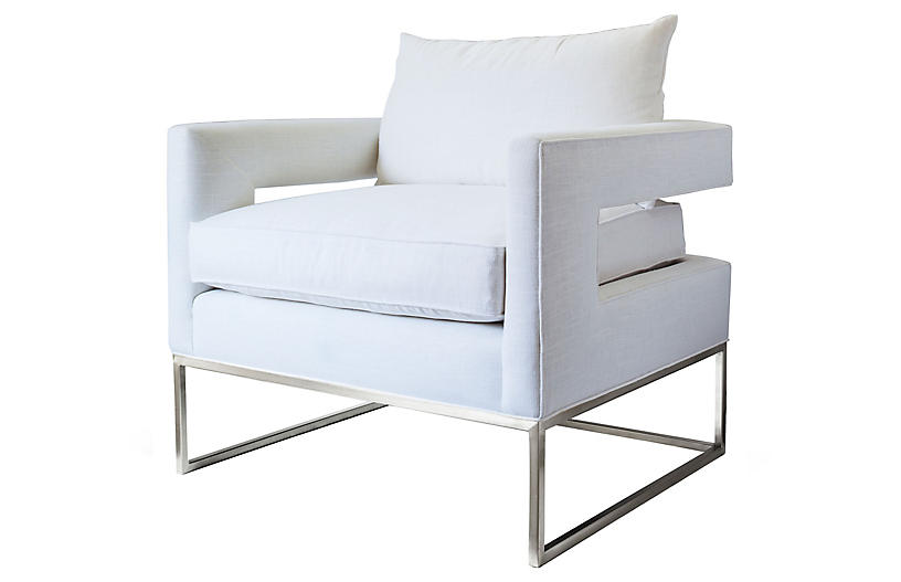 Bevin Chair, Chrome/Ivory Linen