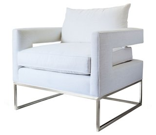 Bevin Chair, Chrome/Ivory Linen