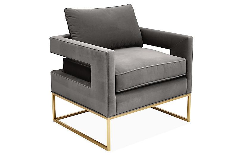 Bevin Accent Chair, Brass/Gray Velvet