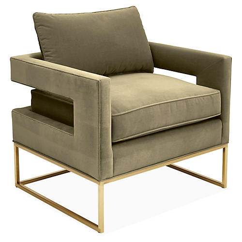 Bevin Accent Chair, Brass/Moss Velvet