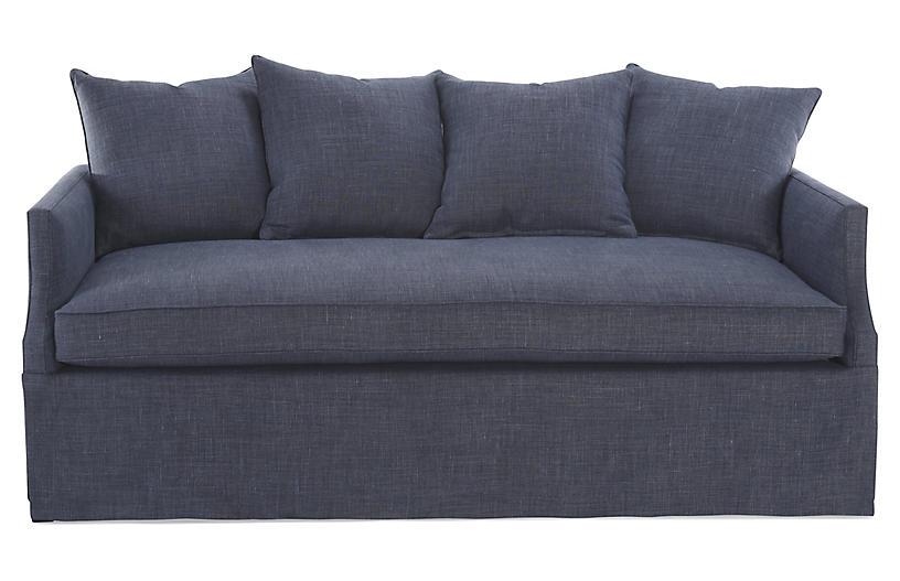 Dumont Trundle Bed, Navy Linen