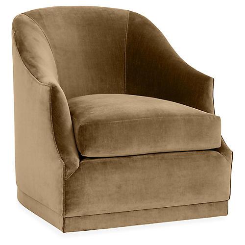 Brooke Swivel Club Chair, Mink Velvet