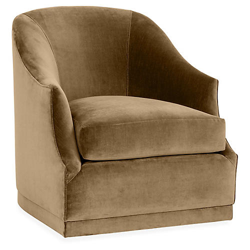 Bridget Swivel Club Chair, Mink Velvet