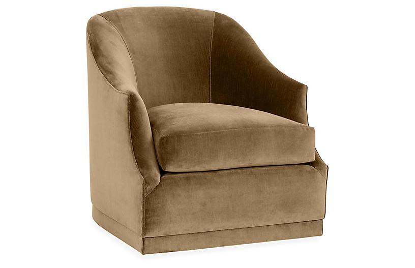Bridget Swivel Club Chair, Mink Velvet