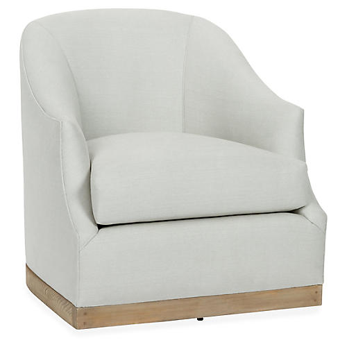 Bridget Swivel Club Chair, Sea Glass Linen