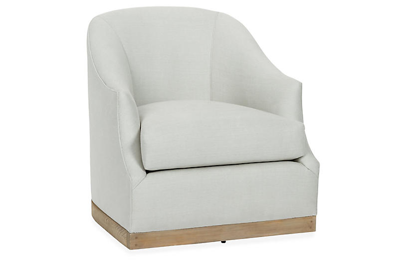 Bridget Swivel Club Chair, Sea Glass Linen