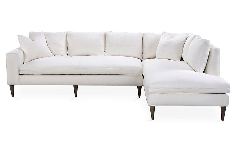 Upton Right-Facing Sectional, Ivory Linen