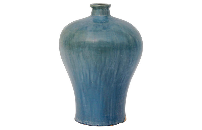 Plum Vase, Vintage Blue