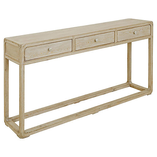 Milo 3-Drawer Console, Natural