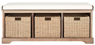 Superbe Ada 3 Basket Storage Bench, White   Storage Benches   Benches   Living Room    Furniture | One Kings Lane