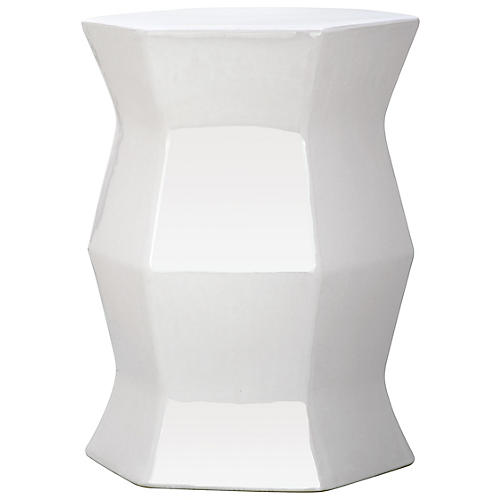 Kait Geometric Garden Stool, White