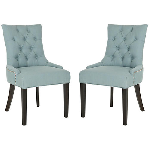 S/2 Avery Side Chairs, Blue