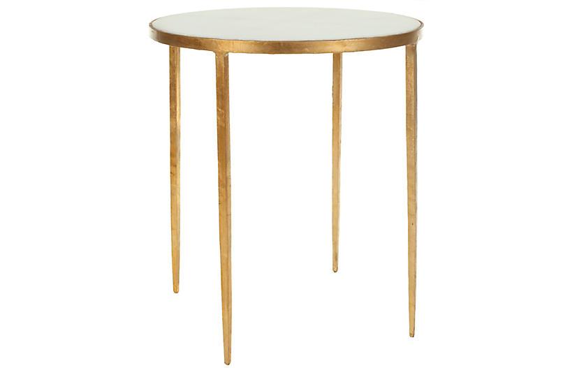 Kast Granite Side Table, White/Gold