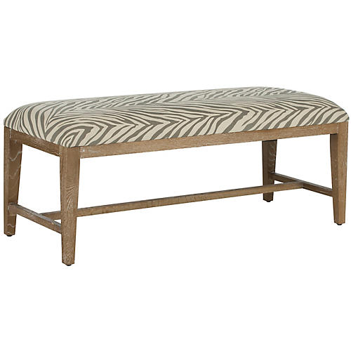 Stella Linen Zebra Bench, Gray/Off-White